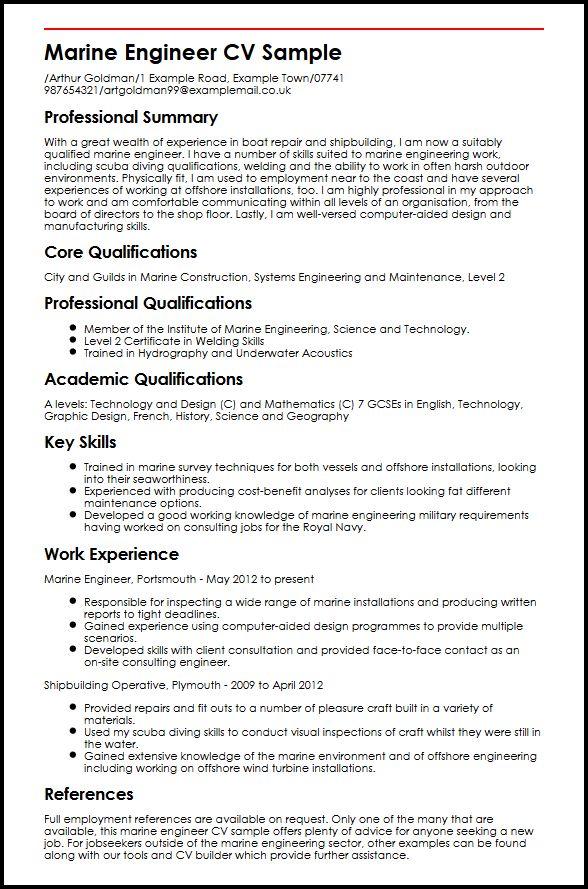 Marine Engineer CV Sample MyperfectCV