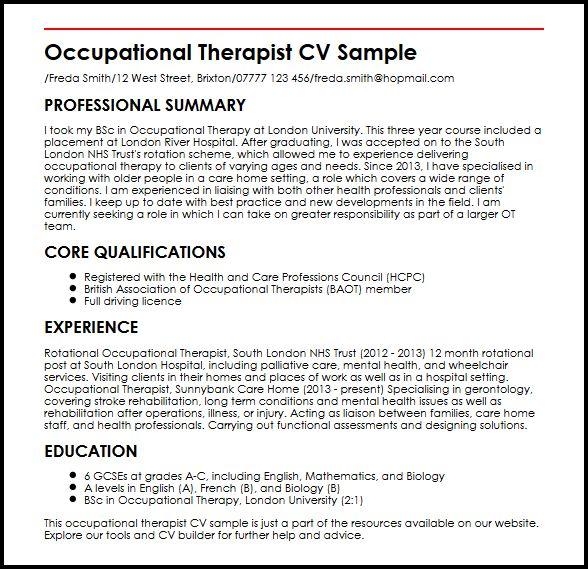 Occupational Therapist CV Sample MyperfectCV