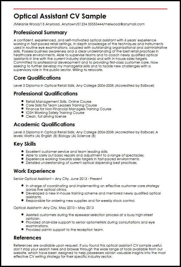 Optical Assistant CV Sample MyperfectCV