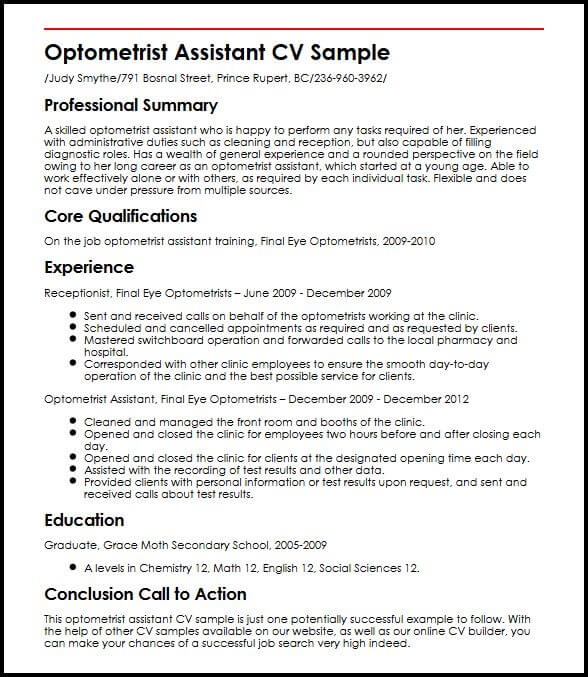 Optometrist Assistant CV Sample  MyperfectCV