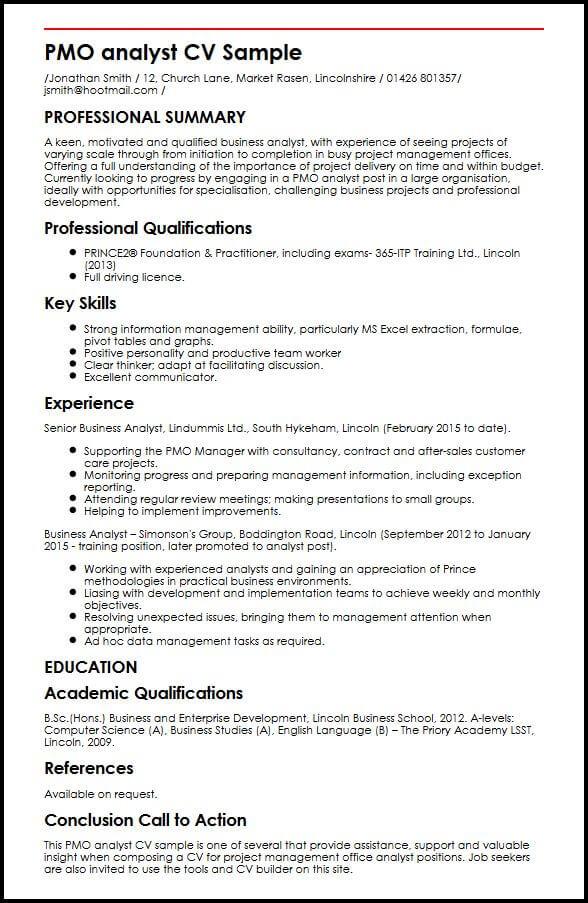 PMO Analyst CV Sample MyperfectCV