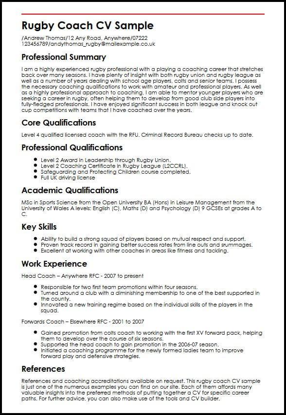 Rugby Coach CV Sample MyperfectCV