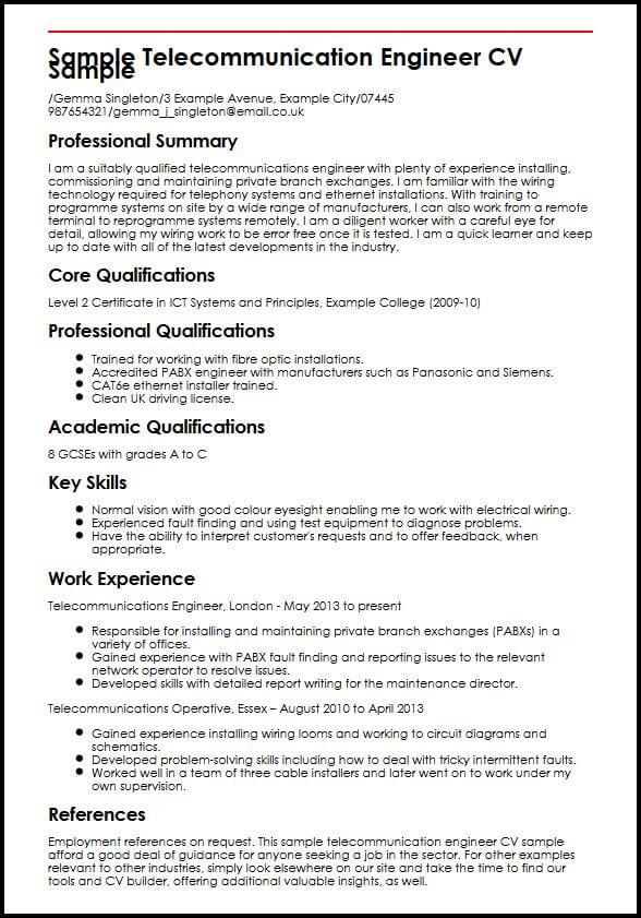 Sample Telecommunication Engineer CV Sample MyperfectCV