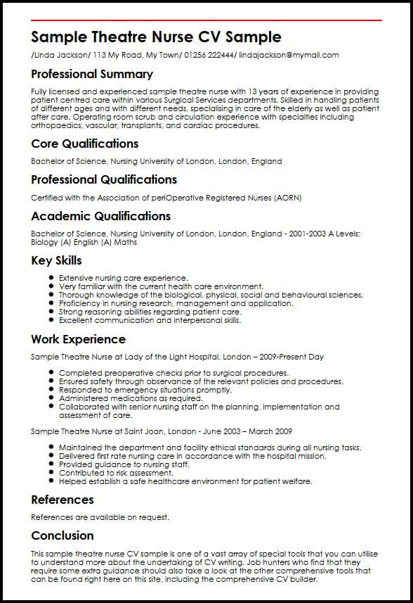 Sample Theatre Nurse CV Sample MyperfectCV