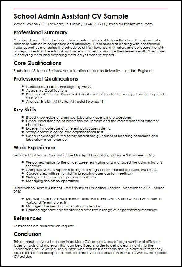 School Admin Assistant CV Sample  MyperfectCV