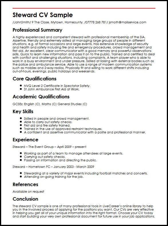 Steward CV Sample MyperfectCV