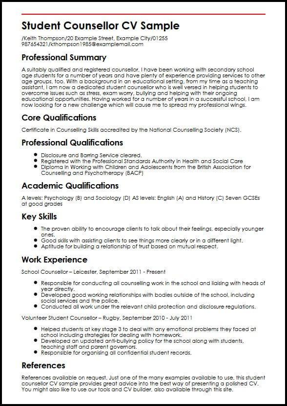 Student Counsellor CV Sample  MyperfectCV