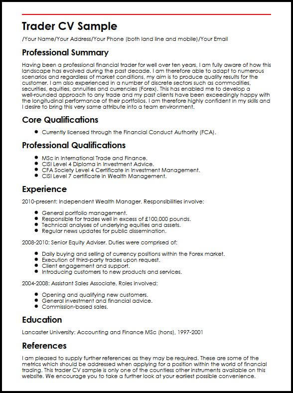 resume introduction finance