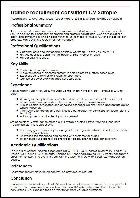 Trainee Recruitment Consultant CV Sample MyperfectCV