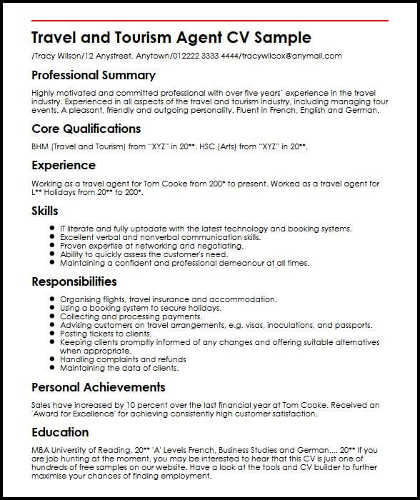 sample resume for a travel consultant