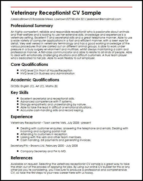 Veterinary Receptionist CV Sample MyperfectCV
