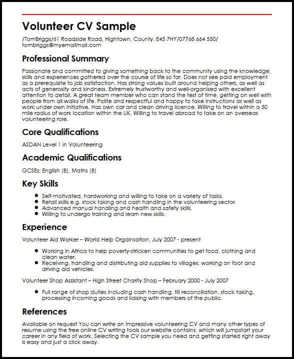 sample resume highlighting volunteer experience
