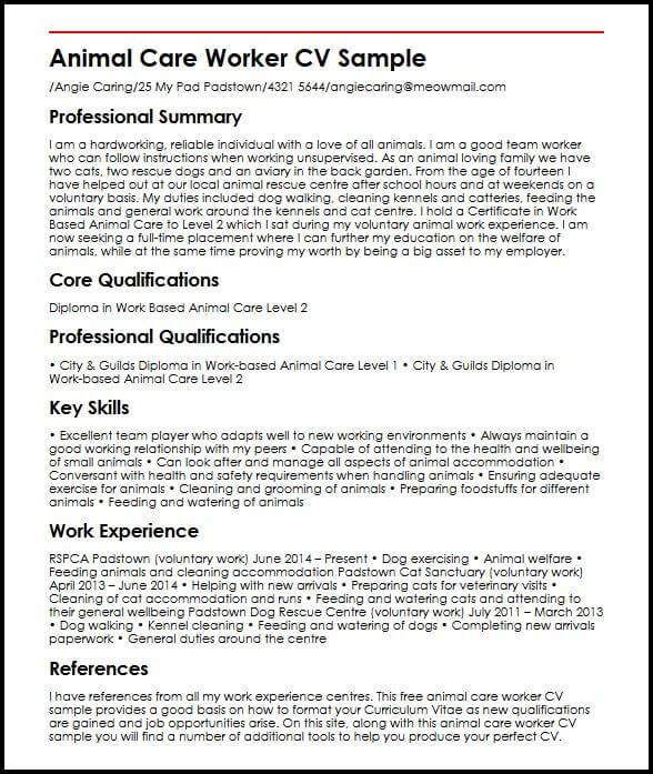 Animal Care Worker CV Sample  MyperfectCV