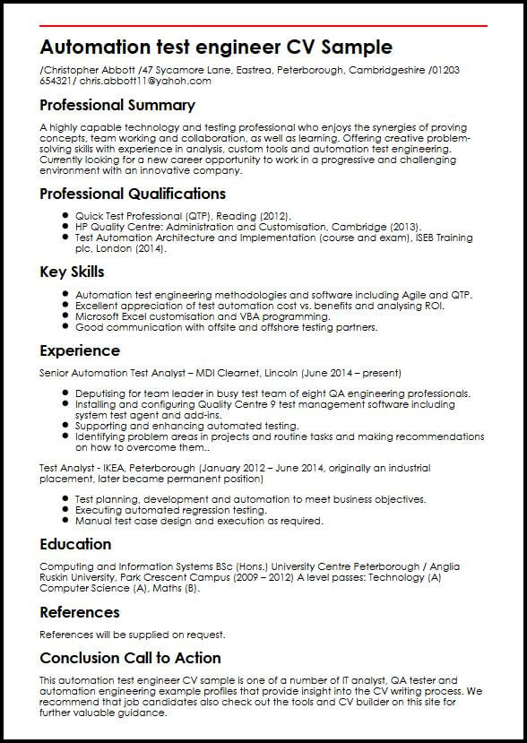 Automation Test Engineer CV Sample MyperfectCV