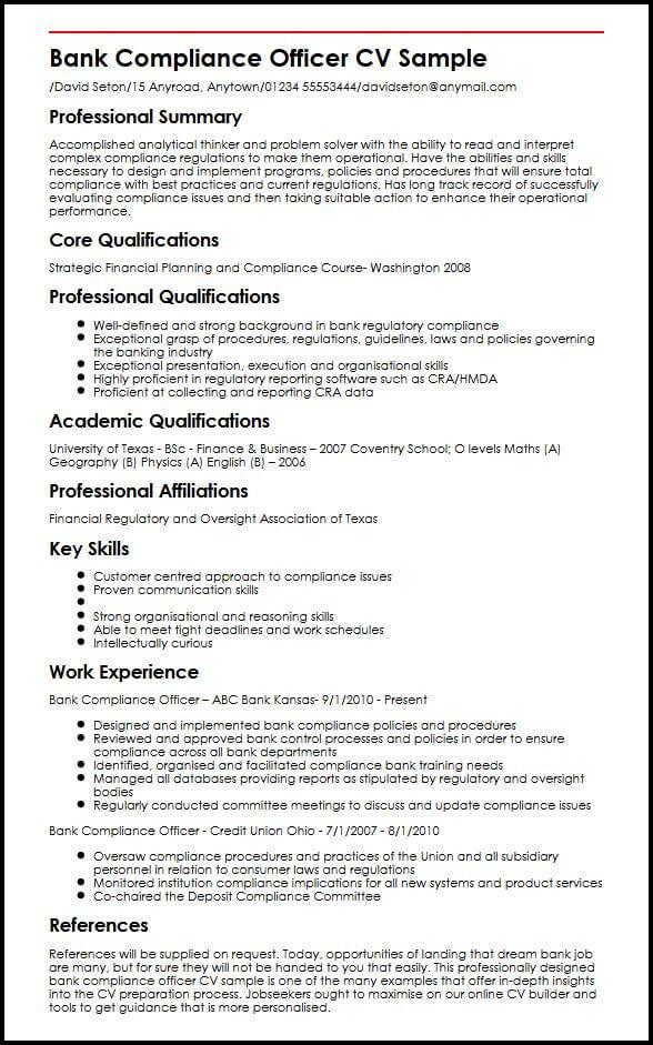 Bank Compliance Officer CV Sample MyperfectCV