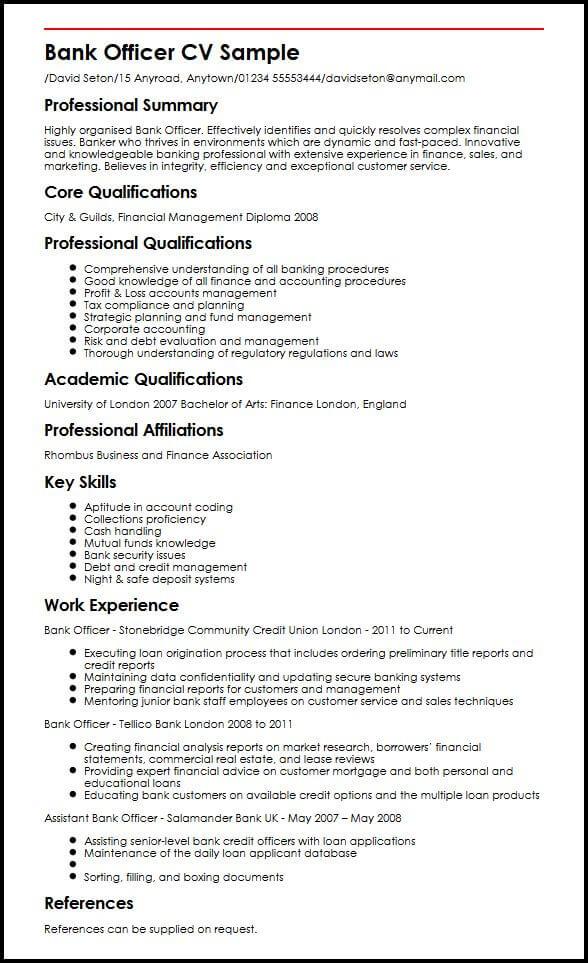 Bank Officer CV Sample MyperfectCV