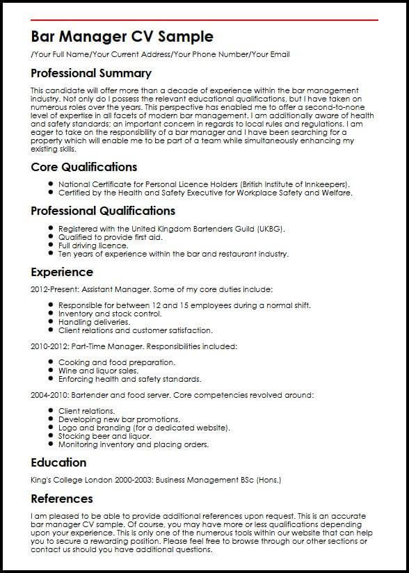 Bar Manager CV Sample MyperfectCV