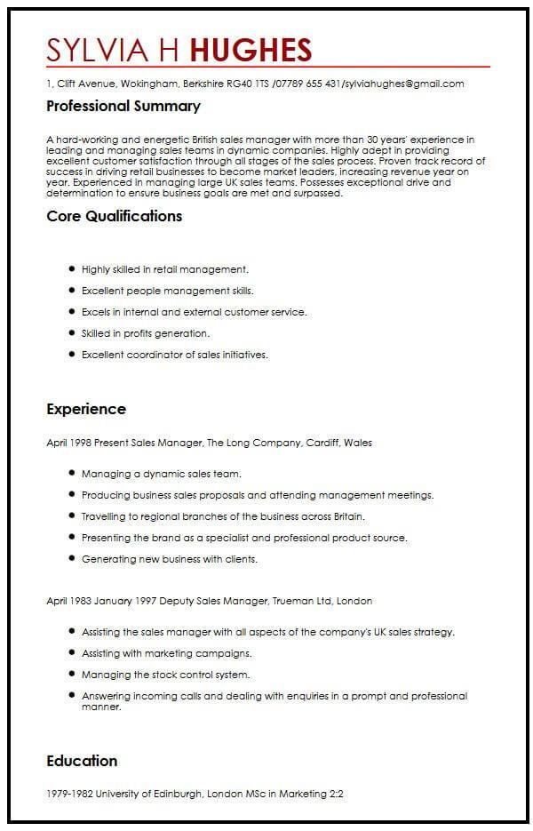 sample resume for uk jobs