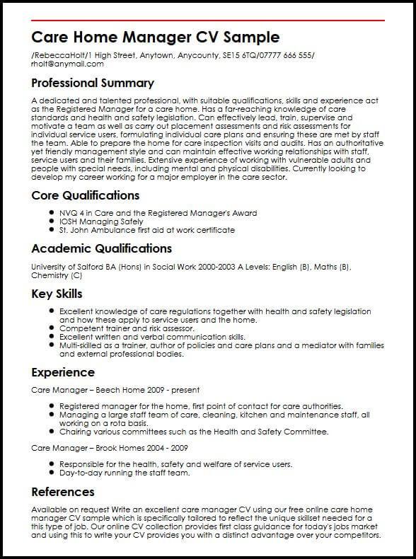Care Home Manager CV Sample  MyperfectCV