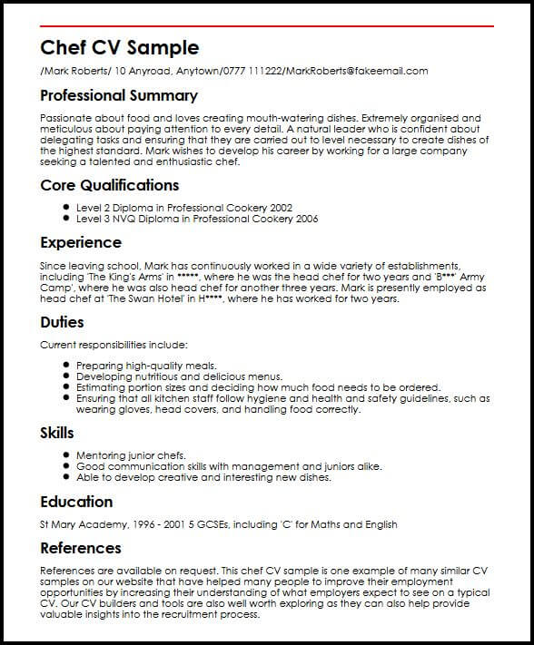 Chef CV Sample  MyperfectCV