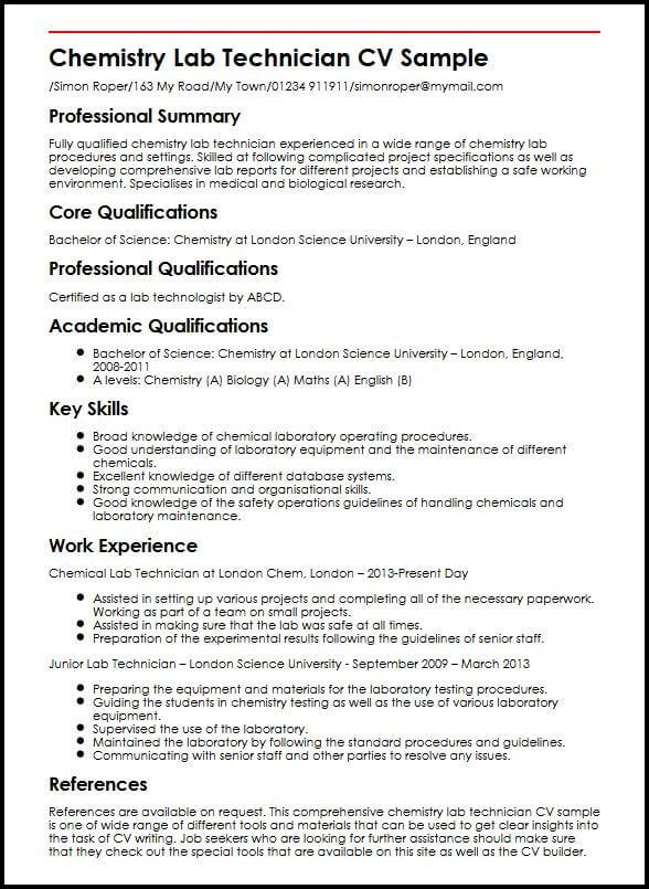 Chemistry Lab Technician CV Sample MyperfectCV