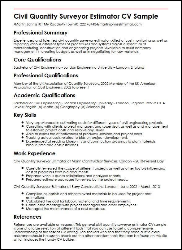 Civil Quantity Surveyor Estimator CV Sample MyperfectCV