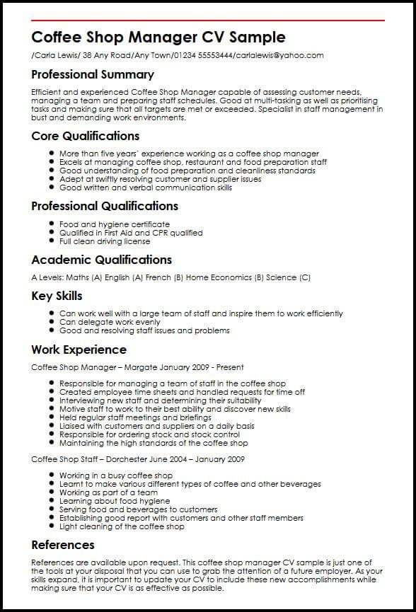Coffee Shop Manager CV Sample  MyperfectCV