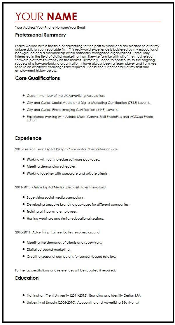 Common CV Example MyperfectCV