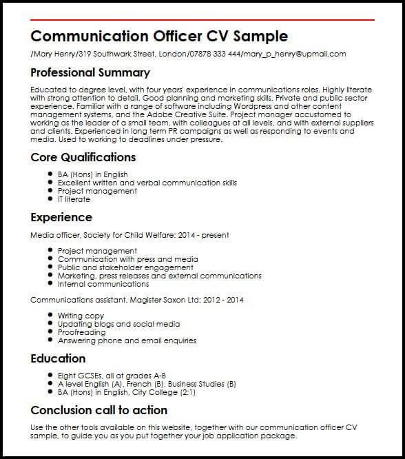 communication skills cv examples