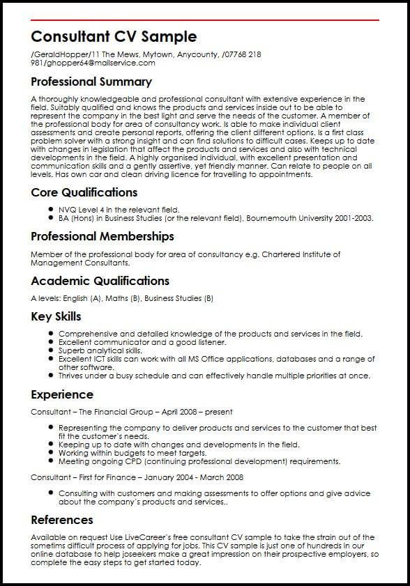 Consultant CV Sample  MyperfectCV