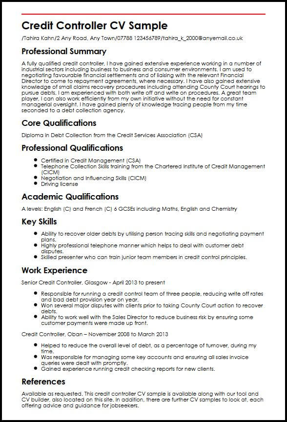 Credit Controller CV Sample MyperfectCV