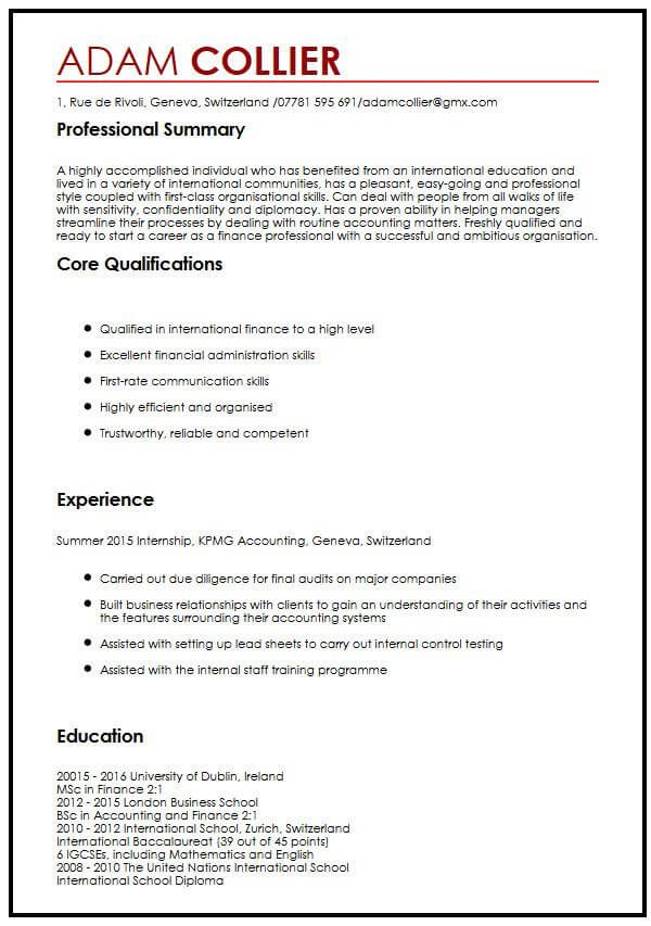 CV Example For International Students MyperfectCV