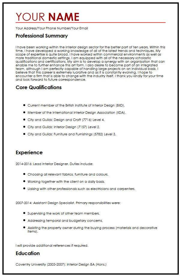 cv format in english