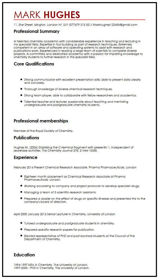resume example of written work