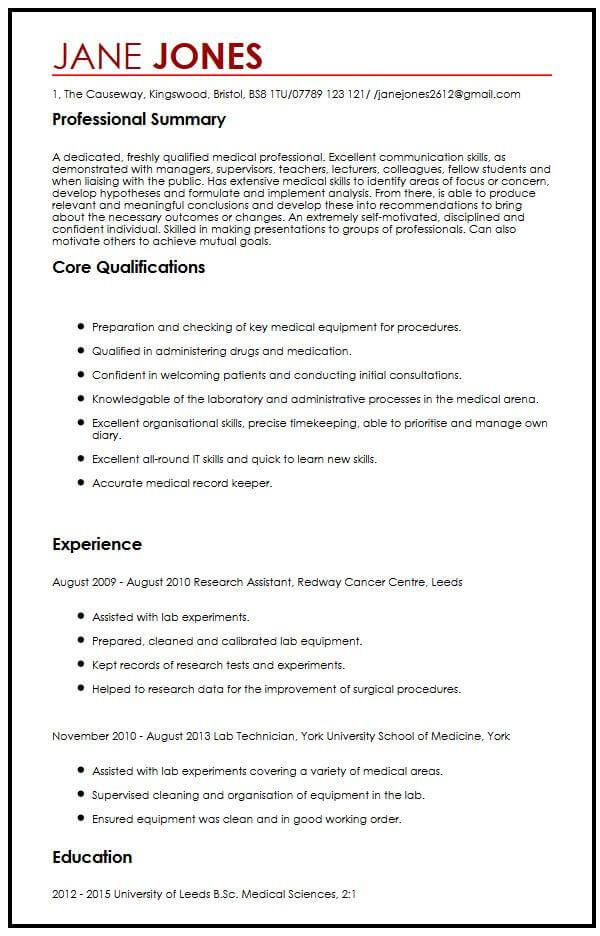 med school application resume samples