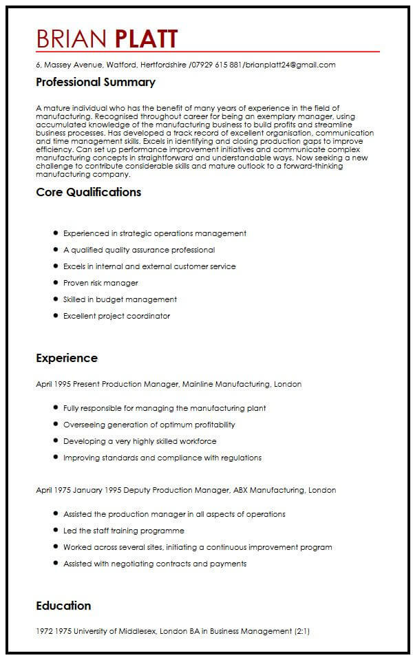 CV Sample For Workers Over 50 MyperfectCV