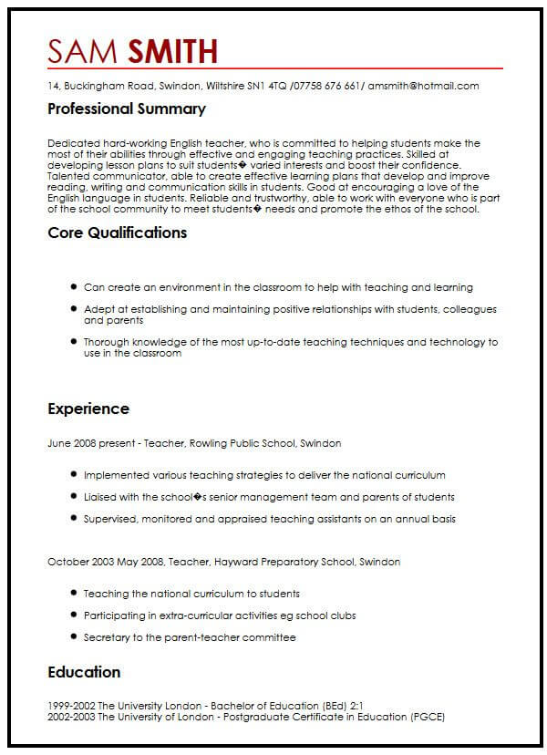 good cv sample in english english teacher cv sample