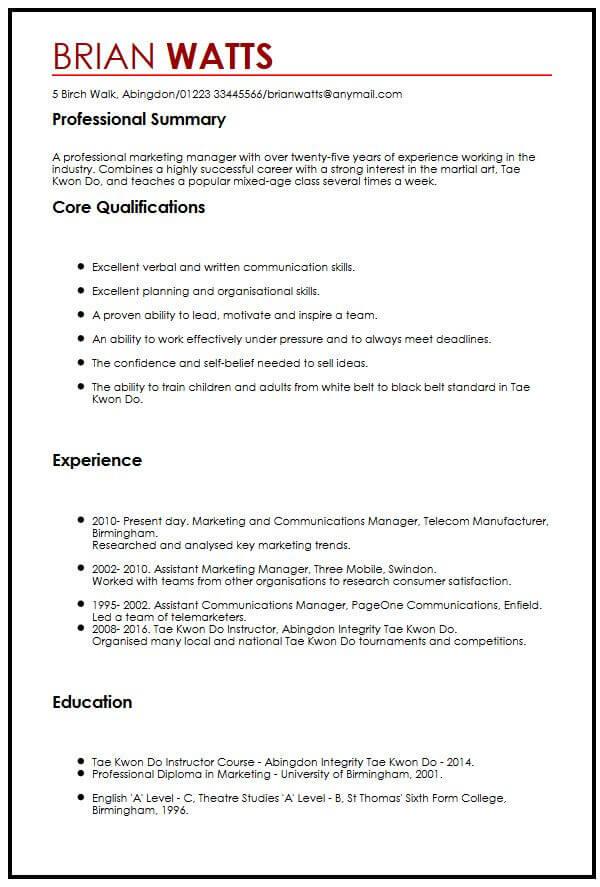 skills and interests cv examples