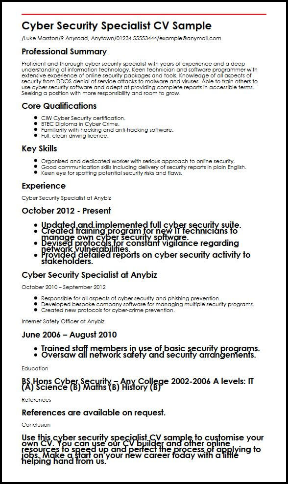 resume cyber security word template