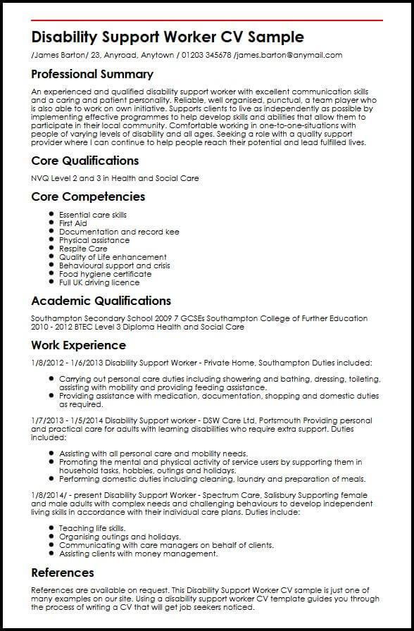 Disability Support Worker CV Sample MyperfectCV