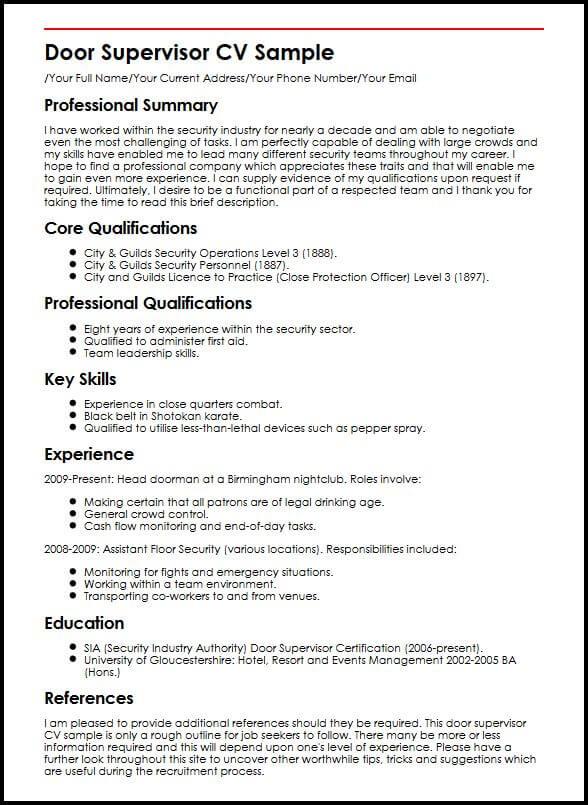 Door Supervisor CV Sample MyperfectCV
