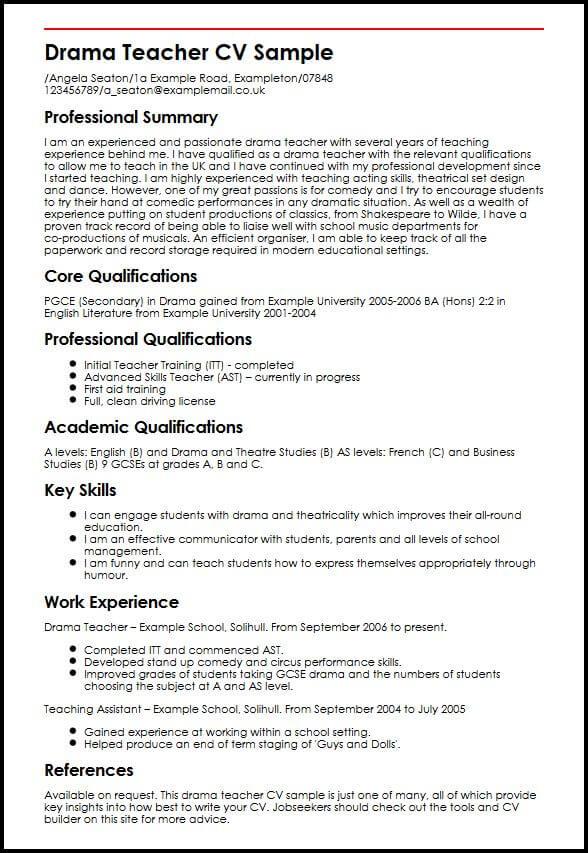 Drama Teacher CV Sample MyperfectCV