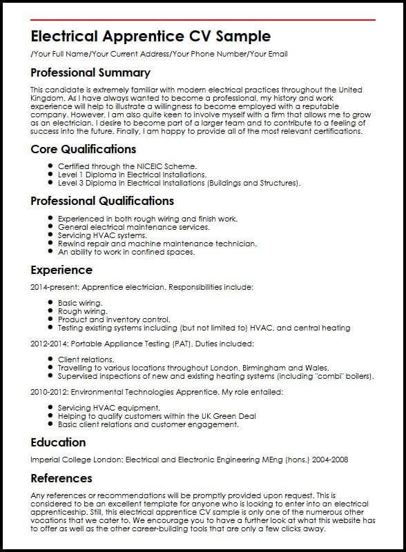 Electrical Apprentice CV Sample MyperfectCV