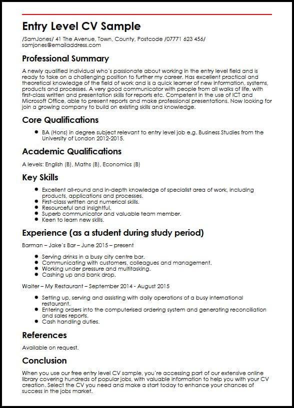 Entry Level CV Sample MyperfectCV