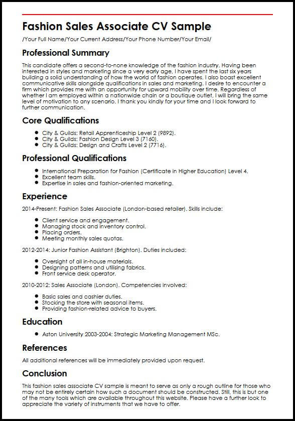 Fashion Sales Associate CV Sample MyperfectCV