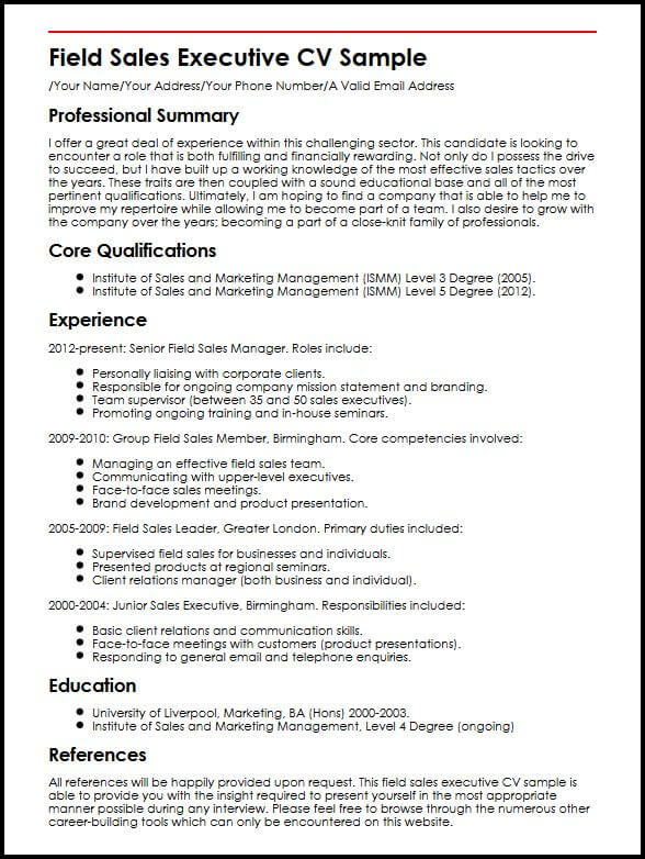 Field Sales Executive CV Sample MyperfectCV