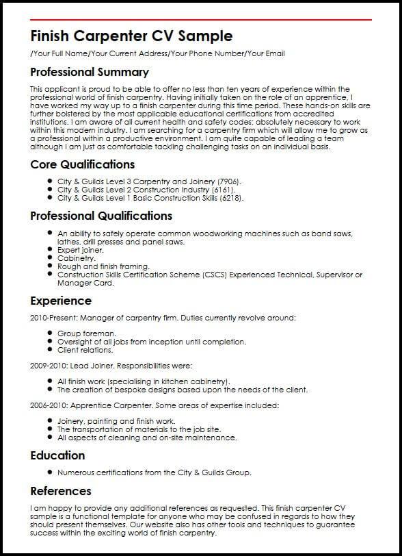 Finish Carpenter CV Sample  MyperfectCV