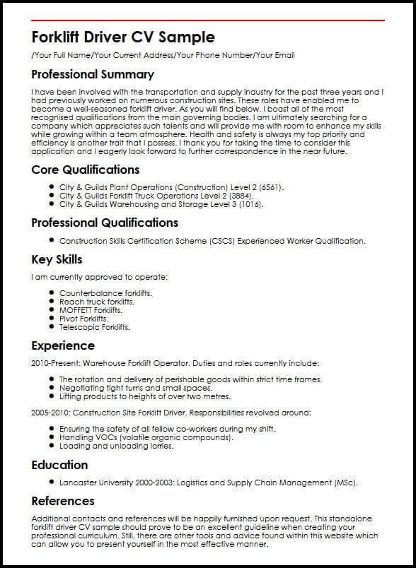 Forklift Driver CV Sample MyperfectCV