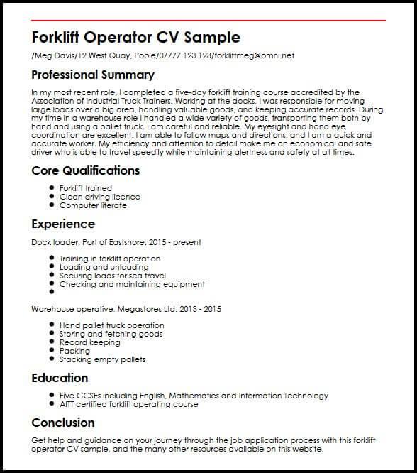 Forklift Operator CV Sample  MyperfectCV