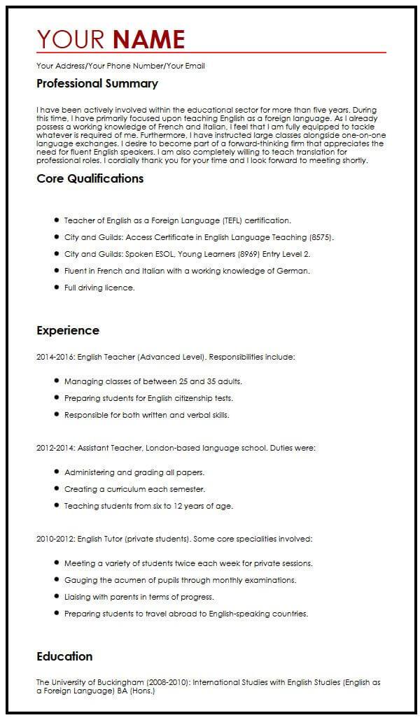 work cv template uk
